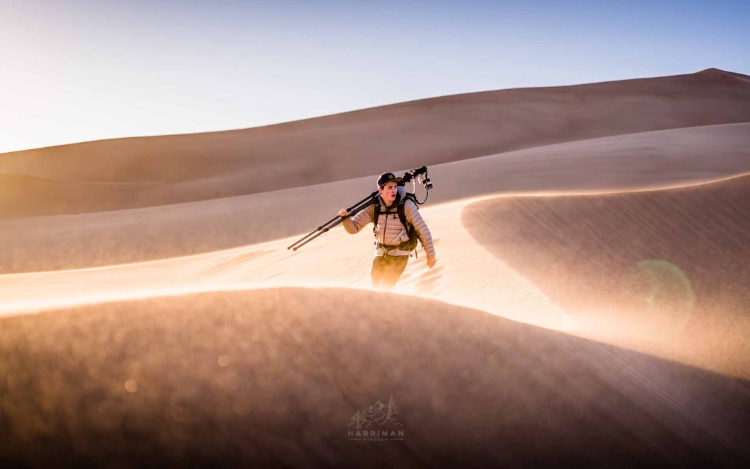 Photographer in Action Sand Dunes Induro