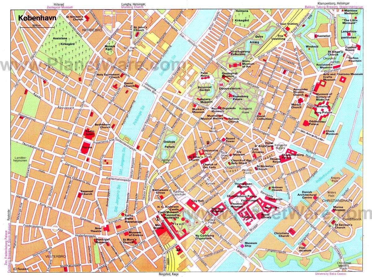 แผนที่ท่องเที่ยวเมือง Copenhagen ตรงที่สีเข้มๆน่ะเดินตามได้เลย สวยมากๆ