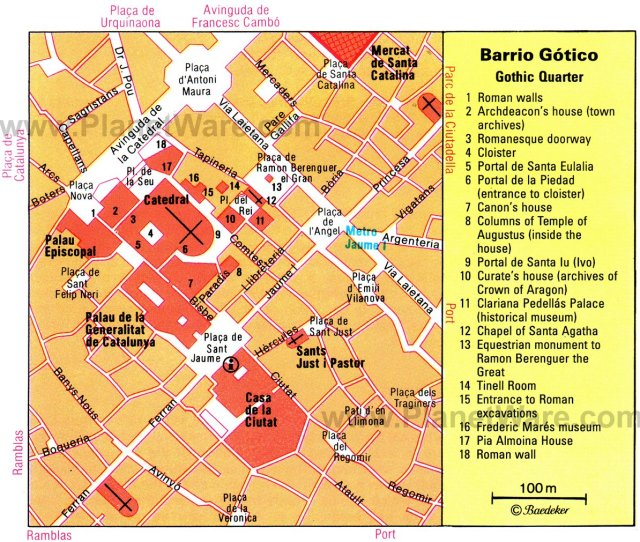 Barcelona Gothic Quarter Map Tourist Attractions