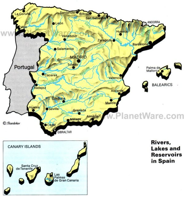 Map of Rivers Lakes and Resevoirs in Spain PlanetWare