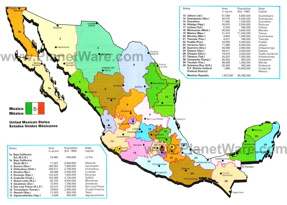 Map Of Mexico Mexican States