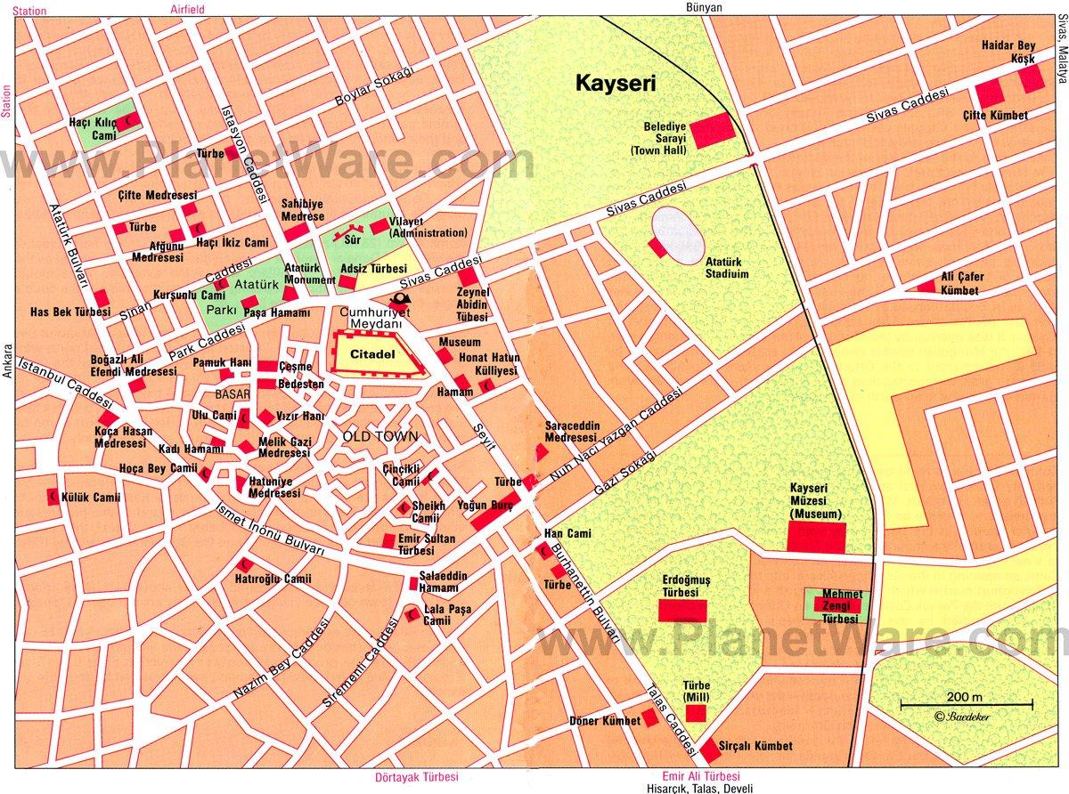 Kayseri Map - Tourist Attractions