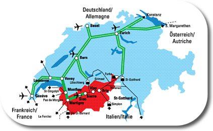Major Routes Through Switzerland