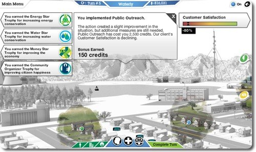 Earning bonuses at IBM's 'City One' game.