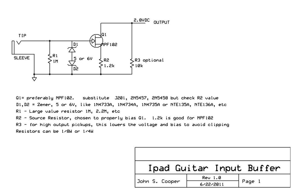 Planet Audio Amp Wiring Diagram Simple Jfet Preamp For An Idevice Guitar Interface Planet Z