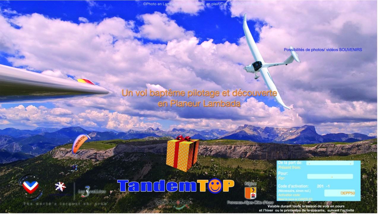 Bon cadeau Pilotage et Découverte ASTROplaneur GapTallard.FR en Planeur Lambada