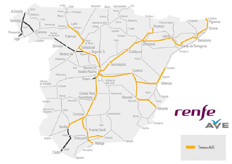 Mapa AVE España