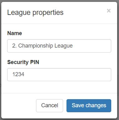 Pressing the blue edit league icon from the League Setup page pops up the league properties screen where you can update the Name of the league or change the leagues security pin. For simplicity you might want to use the same Security Pin for all leagues.