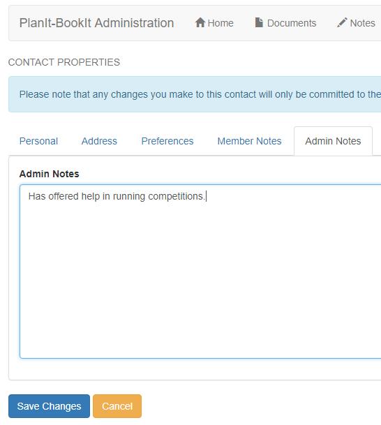 admin notes tab
