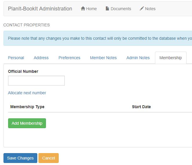 membership tab