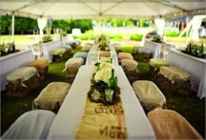 bench style wedding seating