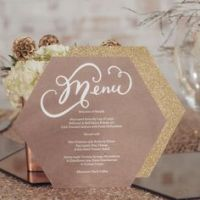 geometric hexagon menu card
