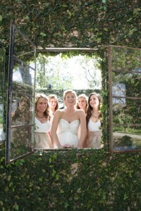 bridesmaids through the window