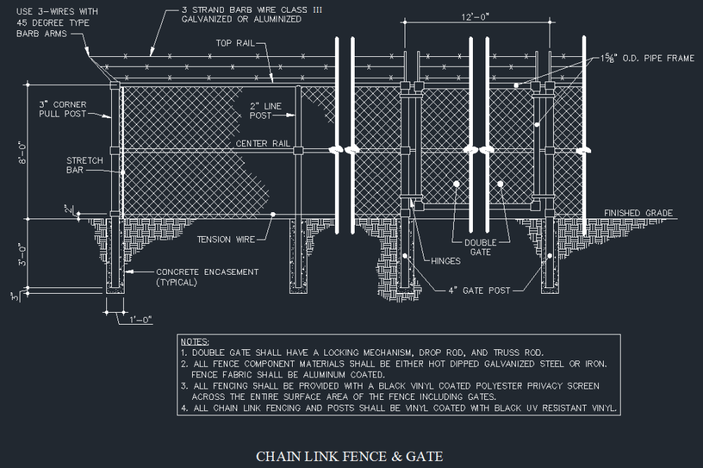 medium resolution of chain link fence gate details cad files dwg files plans and details