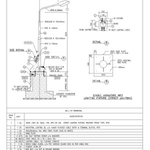 Single Armature HPS Street Lighting  CAD Files, DWG files, Plans and Details