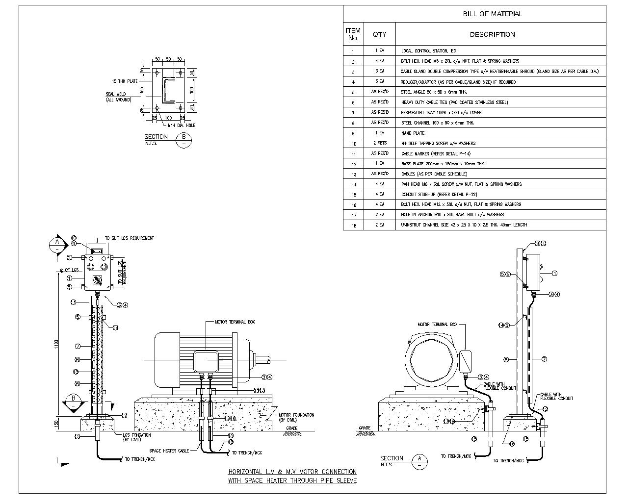 Horizontal Motor With Space Heater Through Pipe Sleeve