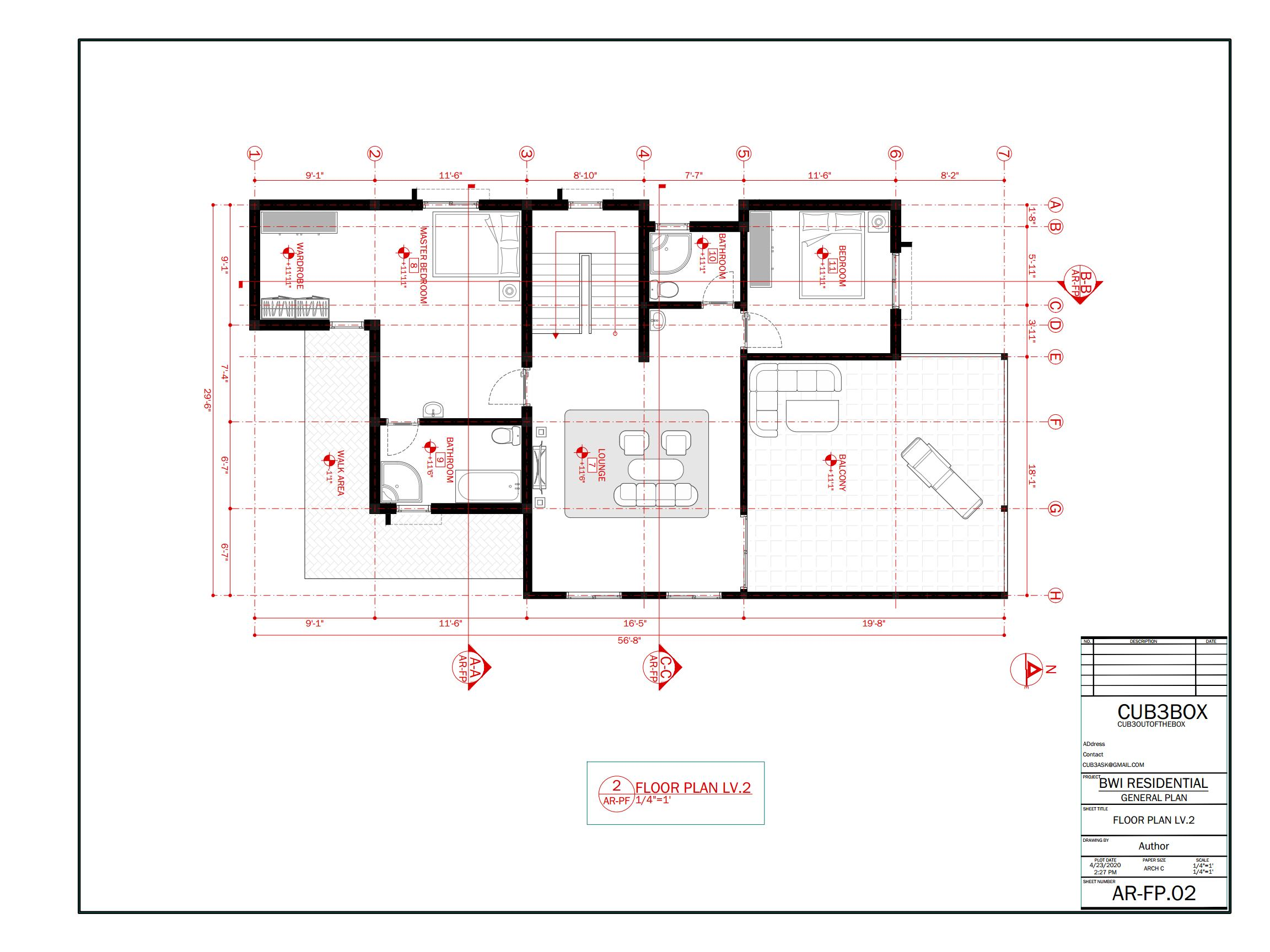 Residential Modern House Architecture Plan with floor plan