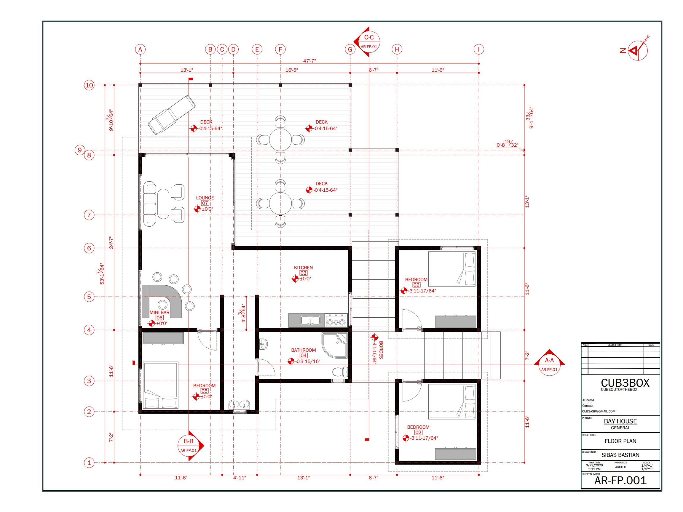 Bay House Architecture Plan with floor plan, section, and
