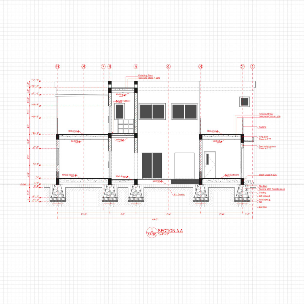 Modern House Office Architecture Plan with floor plan