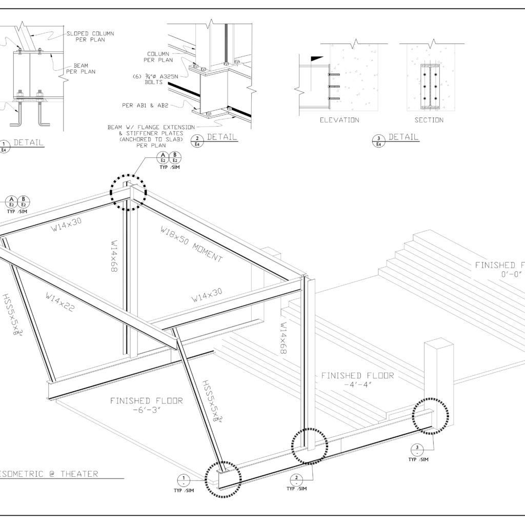 3D AND 2D DRAWINGS OF A COMPLETE STEEL FRAME OF A MANSION