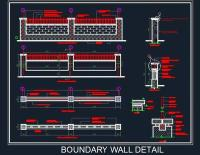 Boundary Wall Elevation And Details - Autocad DWG | Plan n ...