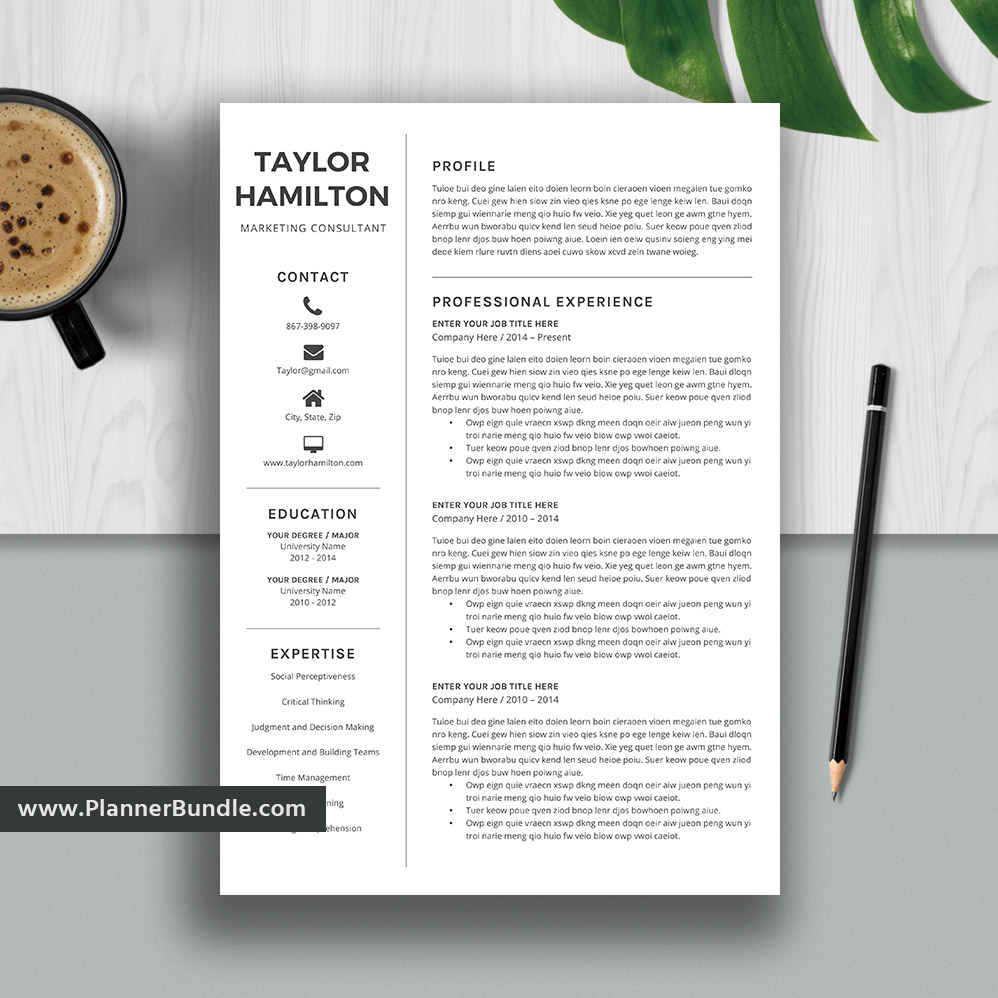 Modern resume template, professional cv, eye catching, clean and fresh look if. Editable Resume Template Simple Cv Template Professional Resume Design Ms Word Resume College Students Interns Fresh Graduates Professionals Plannerbundle Com