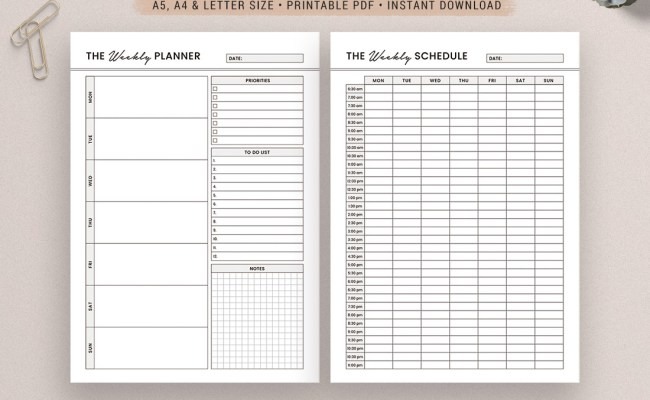 2020 Weekly Planner Weekly Schedule A5 A4 Letter Size