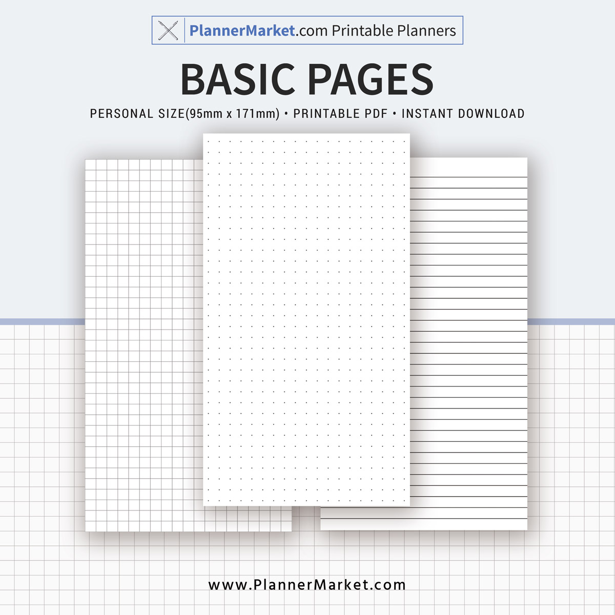 Basic Page Printable, Dot Grid, Grid, Lined Paper