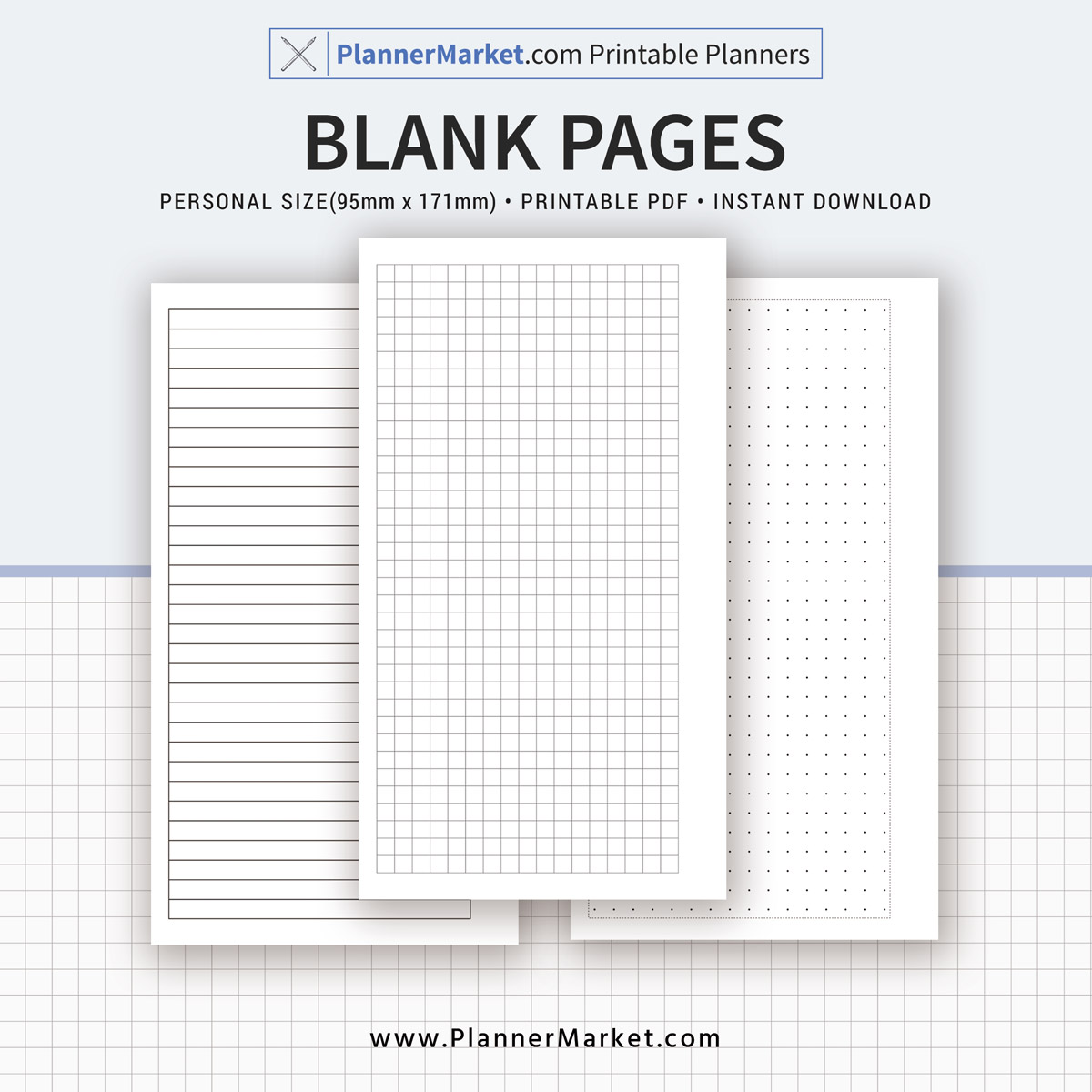 Blank Page, 2018-2019 Planner, Personal Size Inserts