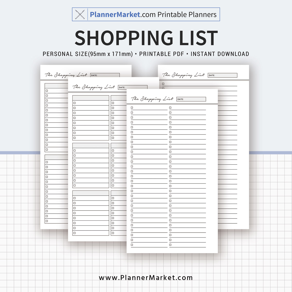 Shopping List, Planner Inserts, Personal Size, Planner
