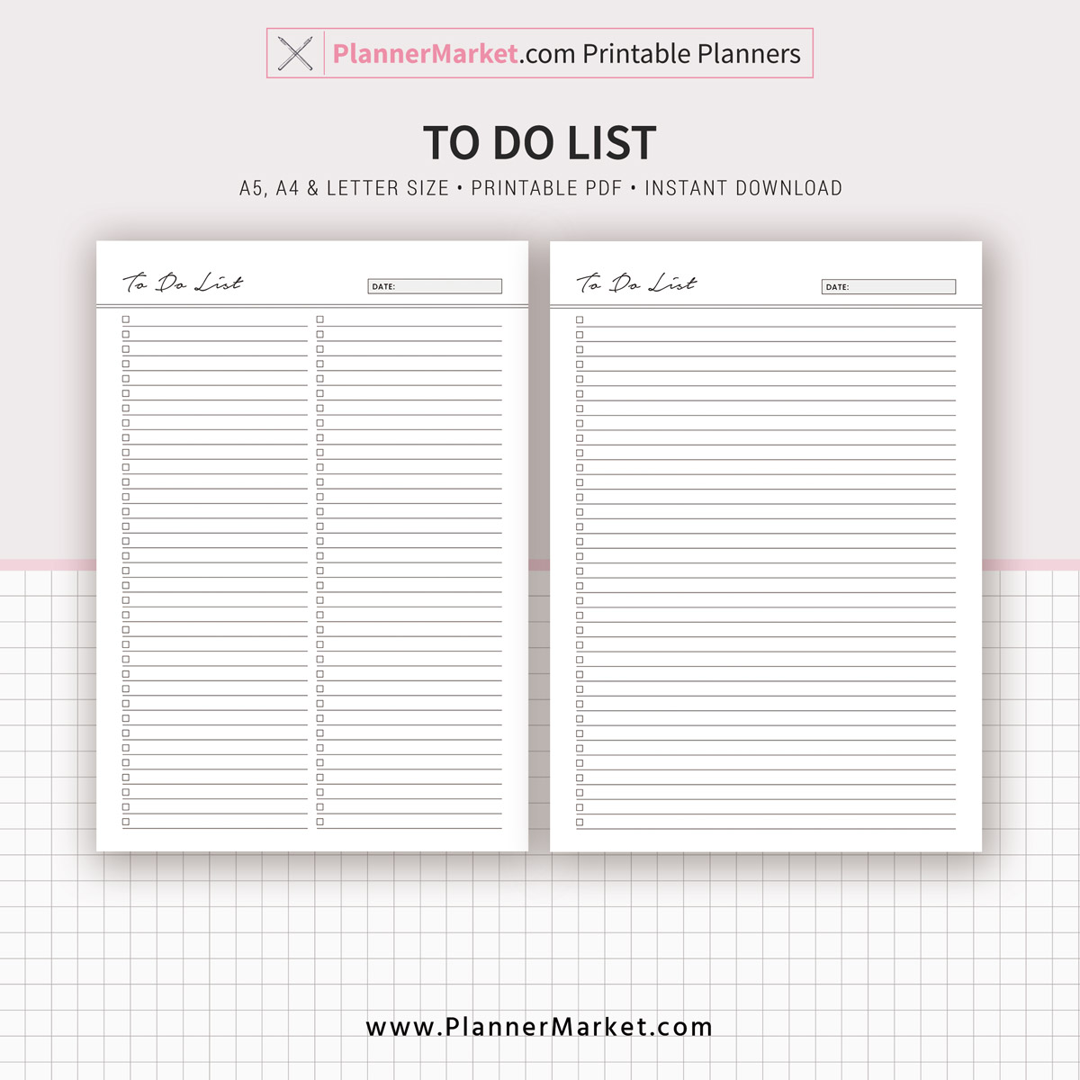 To Do List Planner A5 A4 Letter Size Printable