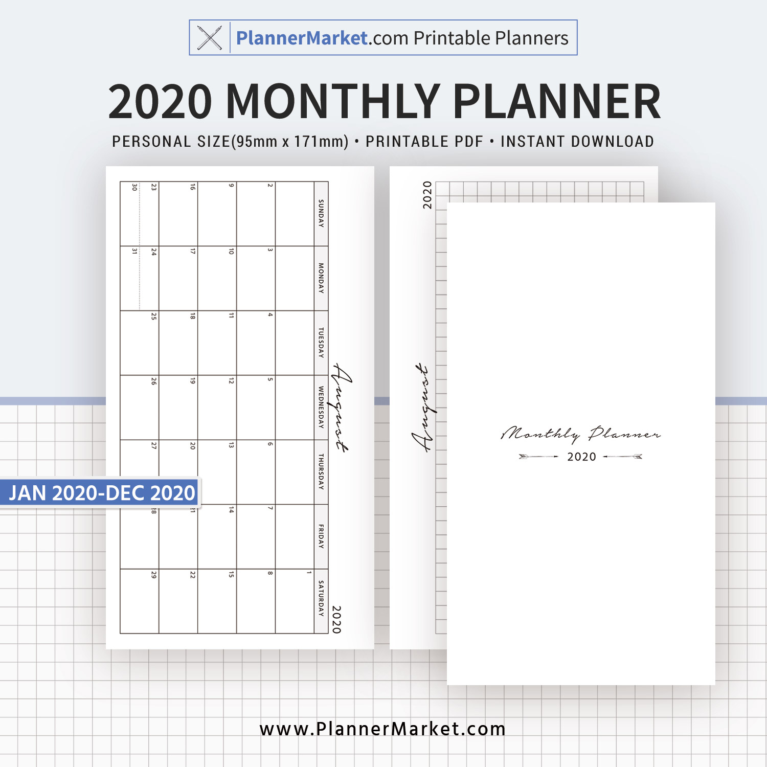 Dated Monthly Calendar 12 Month Planner Monthly