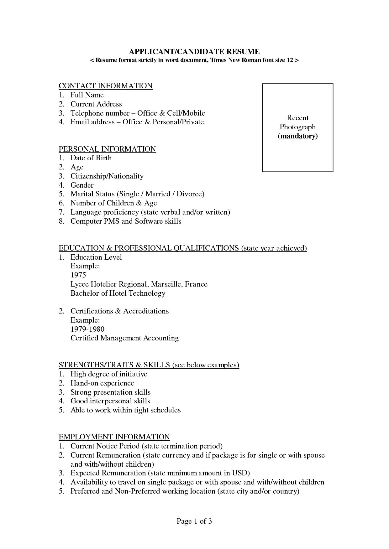 canadian resume sample format