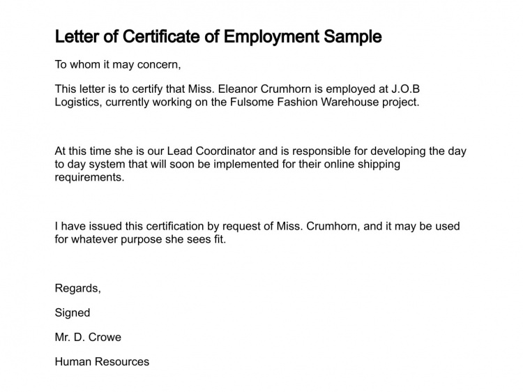 certification of employment letter template