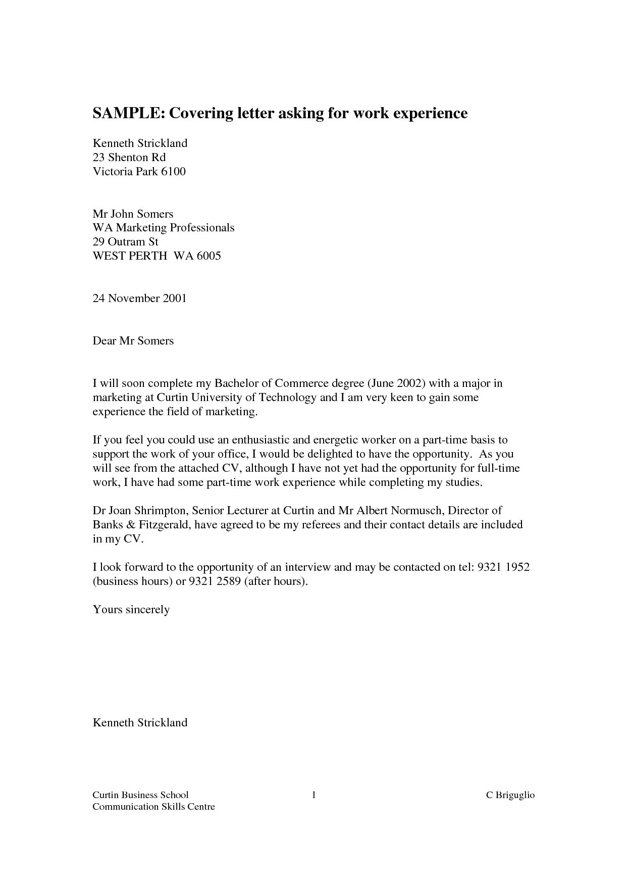 Cover Letter For Work Experience Placement  planner