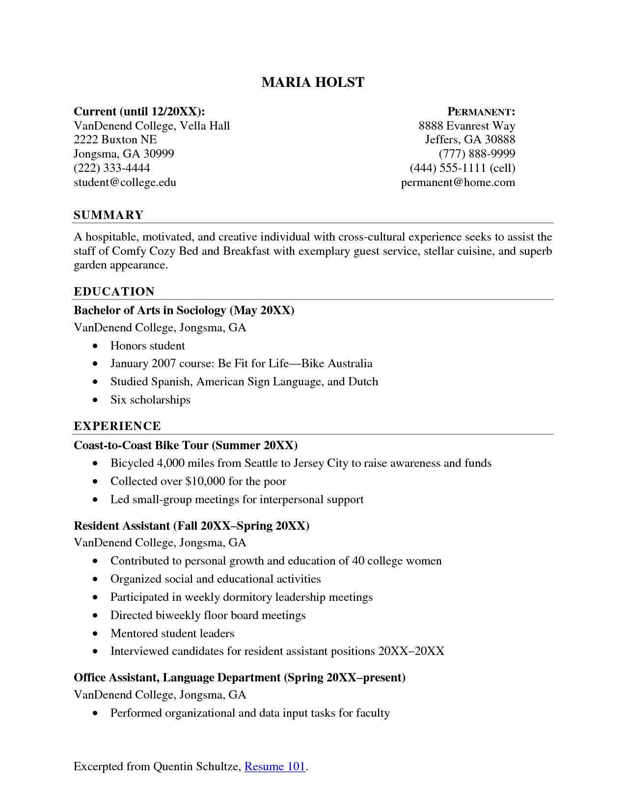 resume examples education as a college student