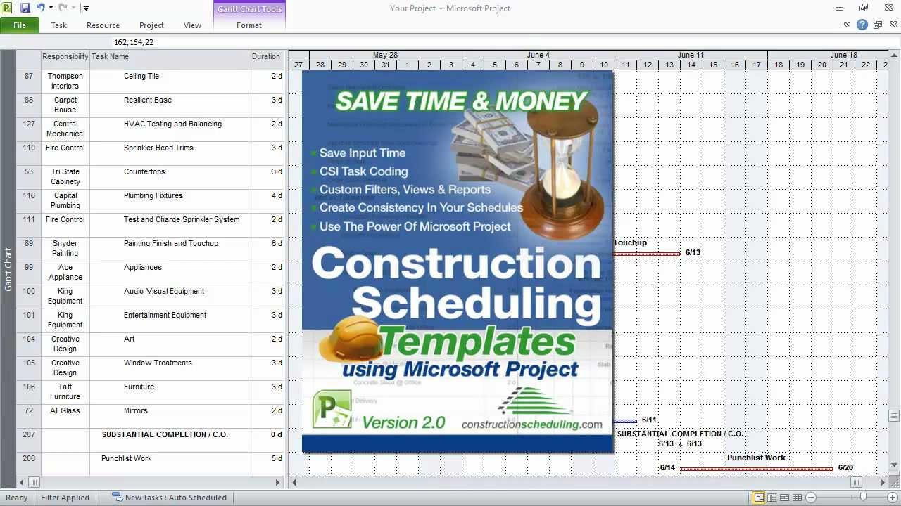 sample construction schedule
