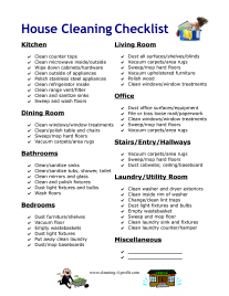 Office Cleaning List Duties Planner Template Free