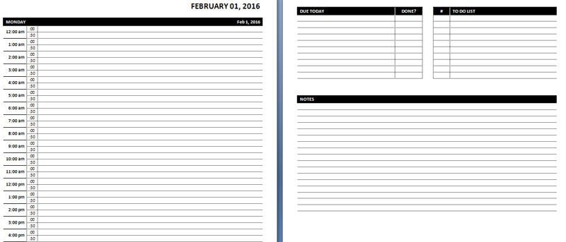 Weekly Hourly Schedule Printable