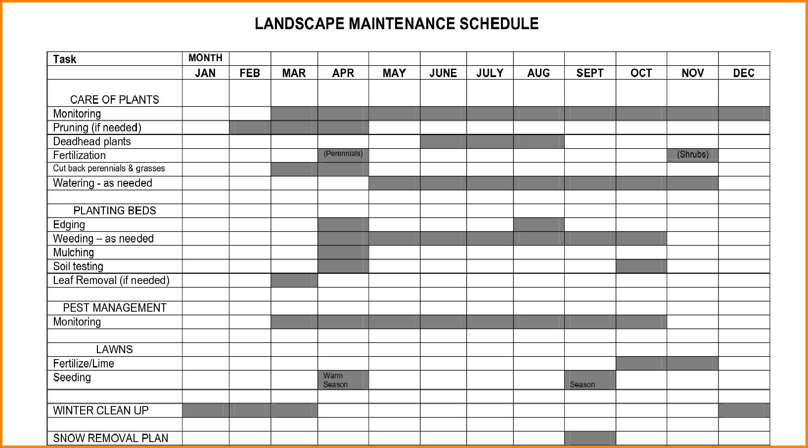 Plant Maintenance Schedule Template Excel House Maintenance Schedule 4  Fswudw