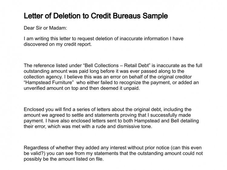 Sample Letter To Credit Bureau To Remove Paid Collection