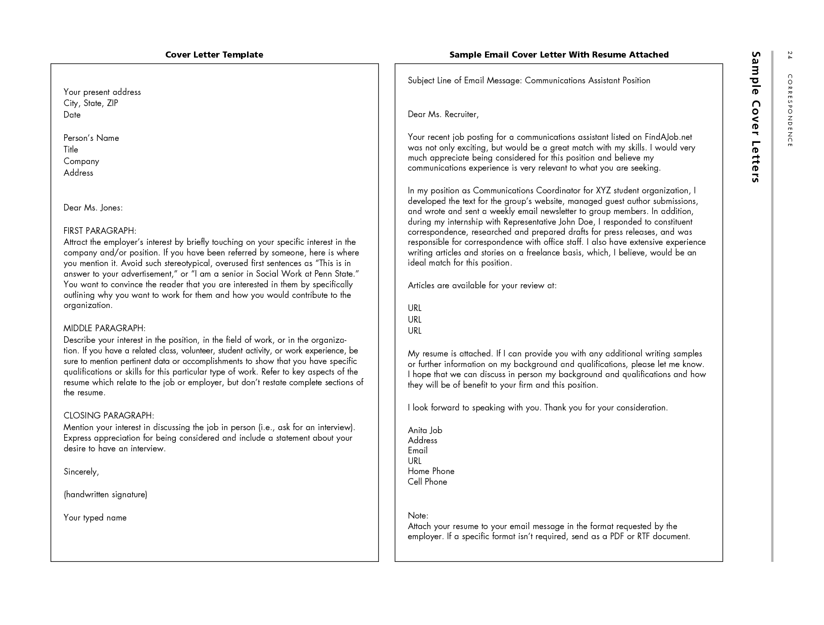 Emailing Resume And Cover Letter Message Sample - Resume