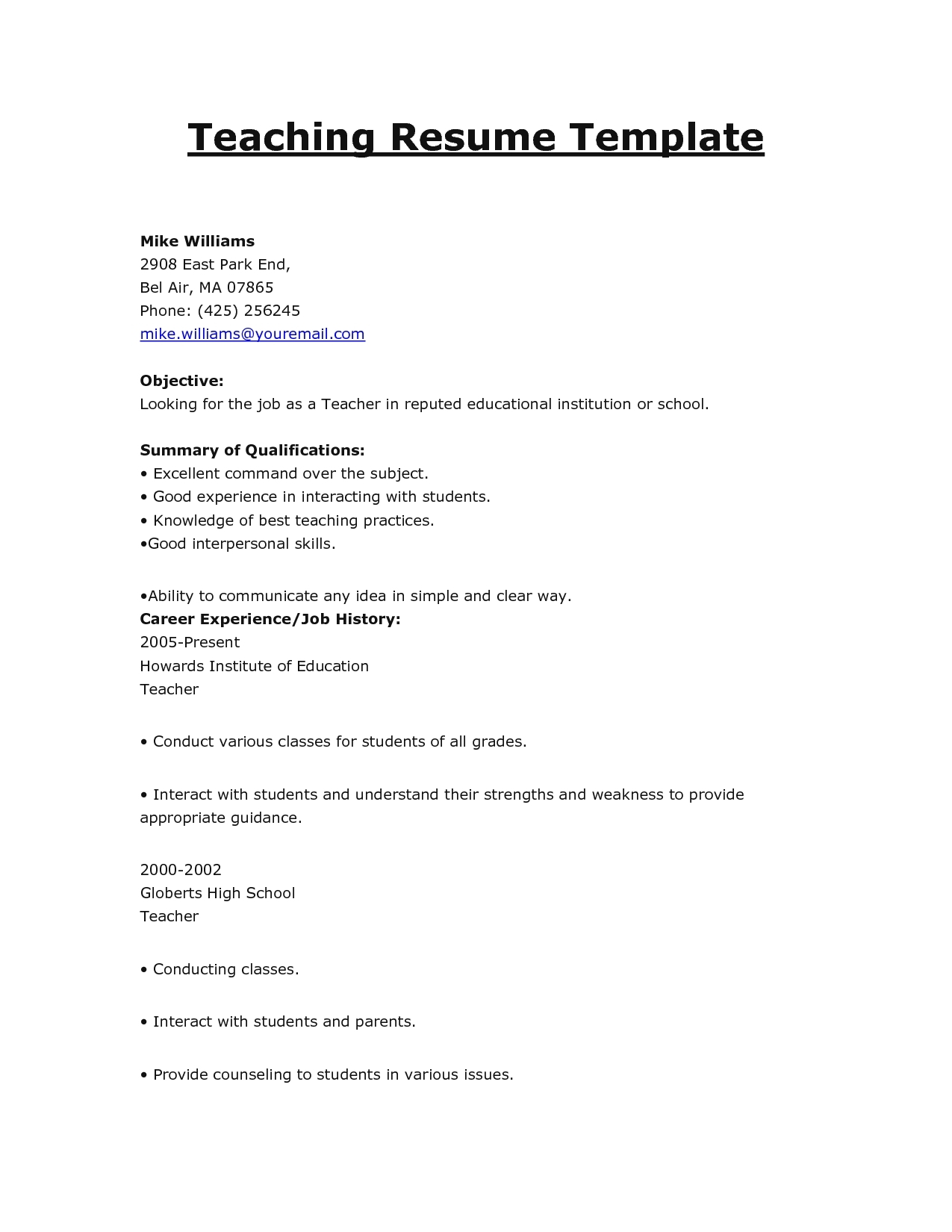 resume outline template free