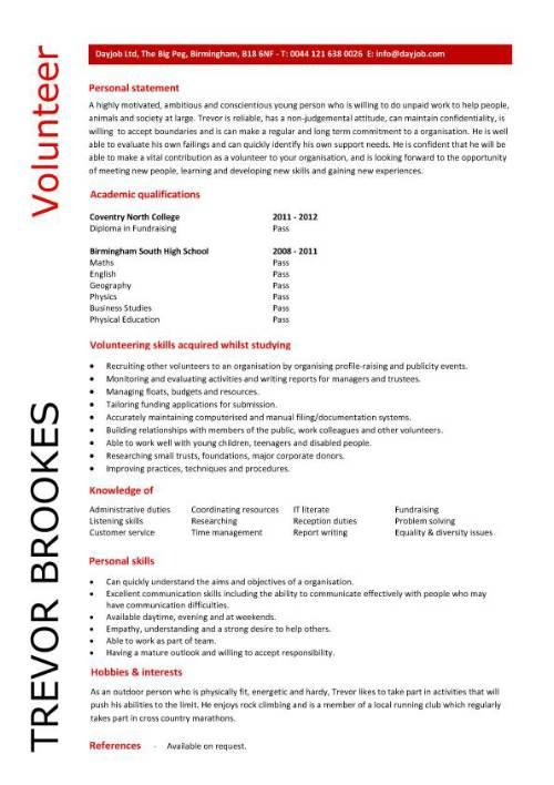 resume for volunteering sample