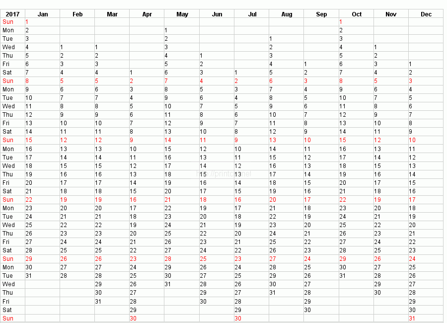 Yearly Planner Template 2017