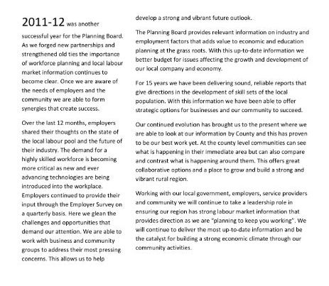 Annual Report 2011-2012 - Four County Labour Market Planning Board