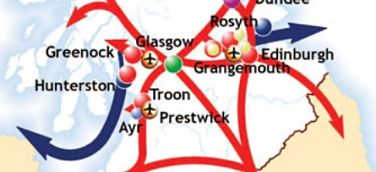 Map of central Scotland with large arrows