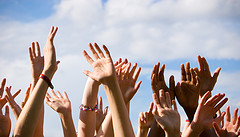 Lots of people's hands in the air