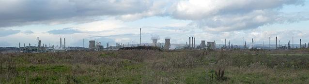Panorama of Grangemouth refinery with lots of smokestacks