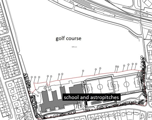 Plan view of Porty Park with school and astropiches and golfcourse